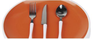 Orange Plate with Utensils