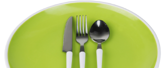 Green plate with utensils