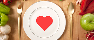 food and plate with heart