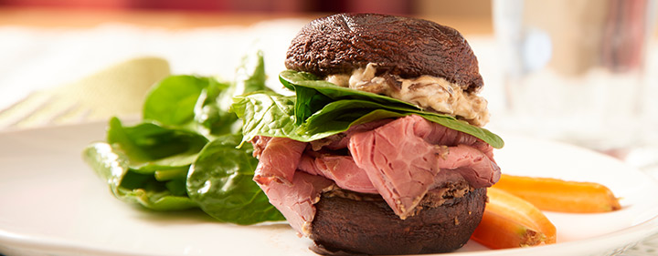 Portobello and Roast Beef Sandwiches with Balsamic onions