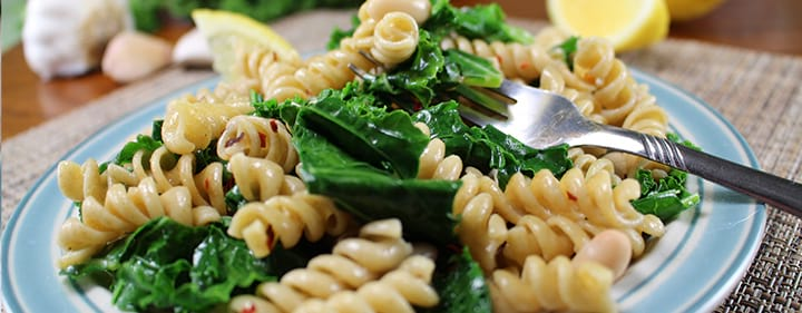 Rotini and White Beans with Collard Greens or Kal