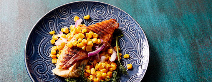 Trout With Pickled Red Onions and Corn